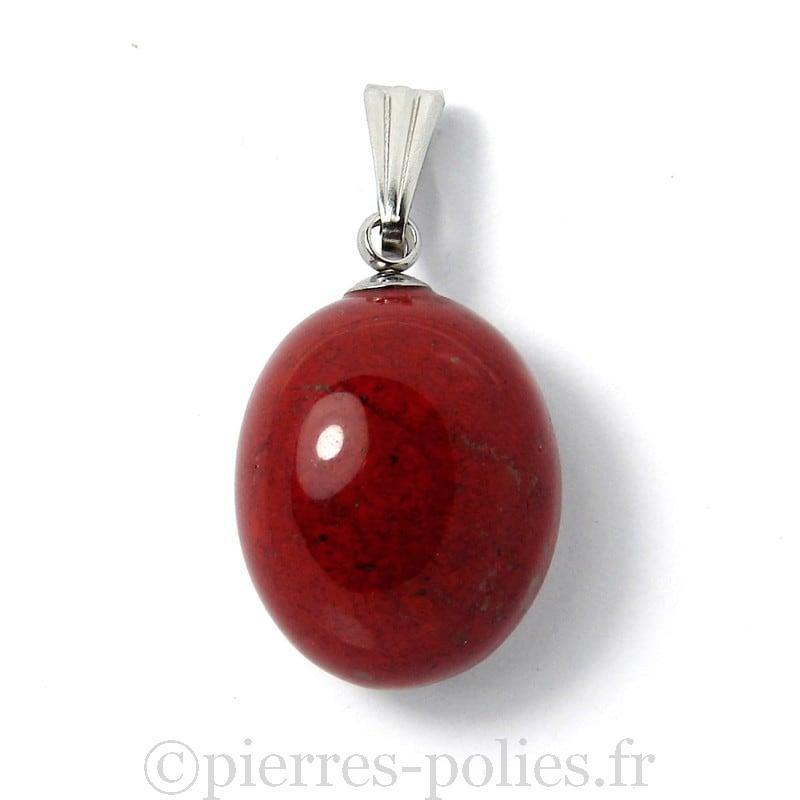 Jaspe rouge - Pendentif pierre roulée polie