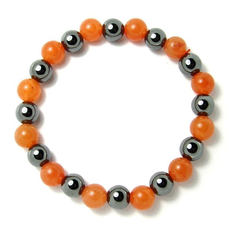 Aventurine orange + hématite - Bracelet boules 8 mm