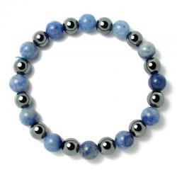 Aventurine bleue + hématite - Bracelet boules 8 mm