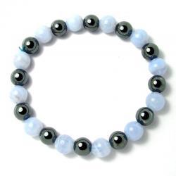 Calcédoine bleue + hématite - Bracelet boules 8 mm