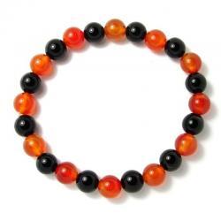 Cornaline naturelle + Onyx - Bracelet boules 8 mm -