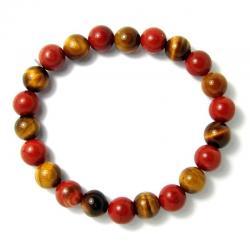 Oeil de tigre + jaspe rouge - Bracelet boules 8 mm
