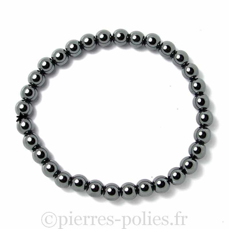 Hématite - Bracelet tubes 6 mm