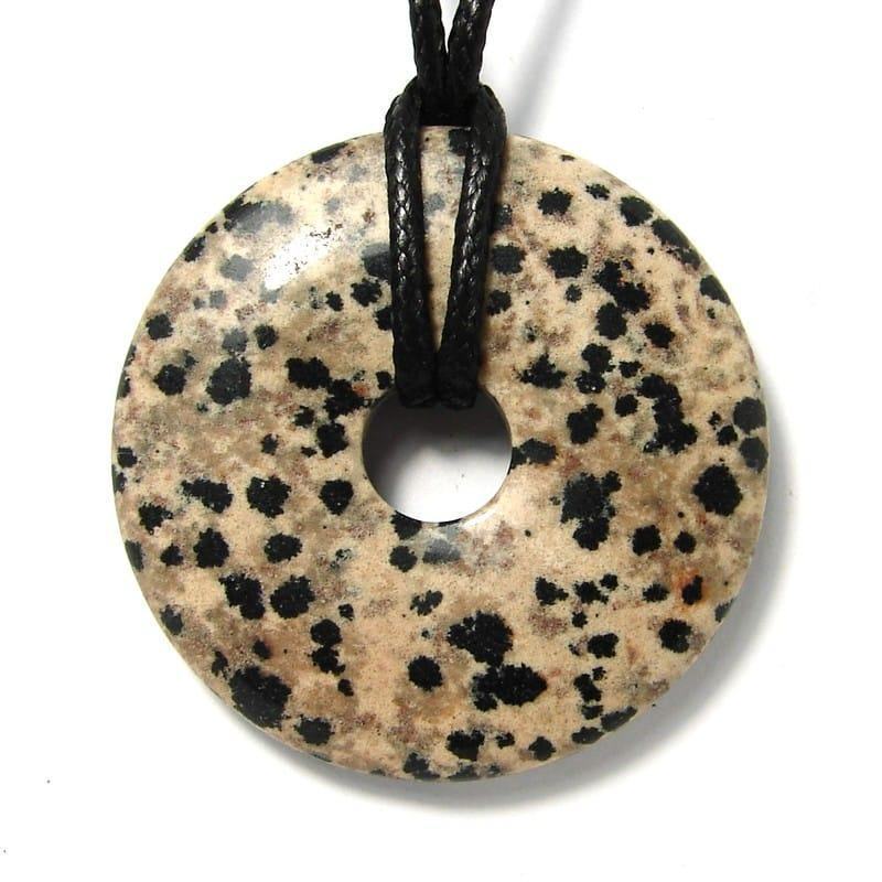 Donut en jaspe dalmatien - 40 mm