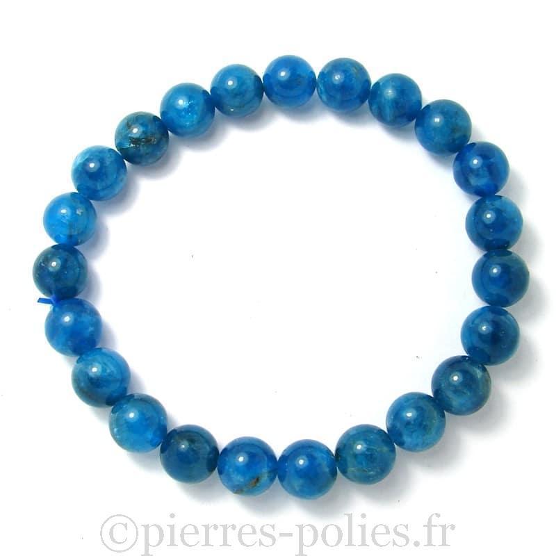Apatite bleue AA - Bracelet boules 8 mm