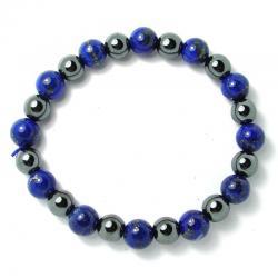 Lapis-lazuli AA + hématite - Bracelet boules 8 mm