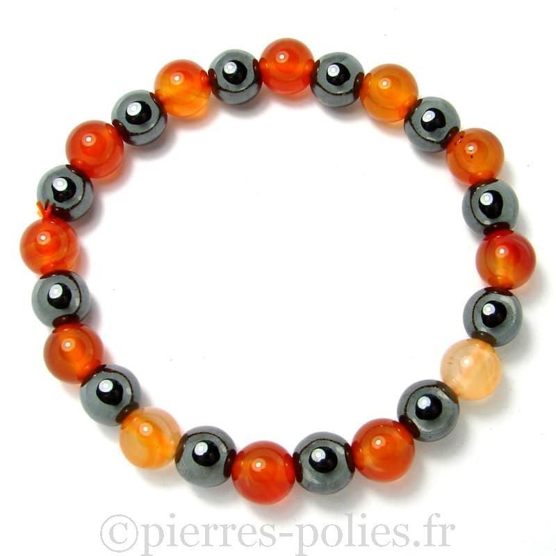 Cornaline naturelle + Hématite - Bracelet boules 8 mm -