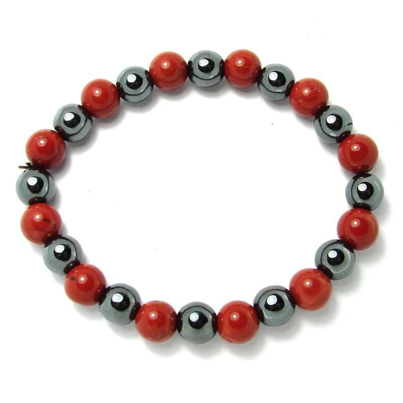 Jaspe rouge + hématite - Bracelet boules 8 mm