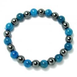 Apatite bleue + hématite - Bracelet boules 8 mm