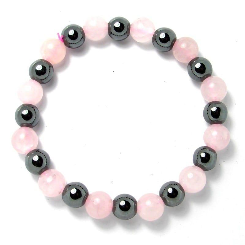 Quartz rose + hématite - Bracelet boules 8 mm