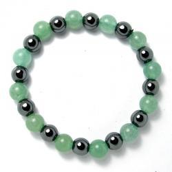 Aventurine verte + hématite - Bracelet boules 8 mm