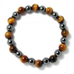 Oeil de tigre + hematite - Bracelet boules 8 mm