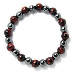 Oeil de taureau + hématite - Bracelet boules 8 mm - Qualité A