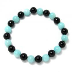 Amazonite + onyx - Bracelet boules 8 mm - Qualité A