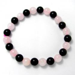 Quartz rose + onyx - Bracelet boules 8 mm