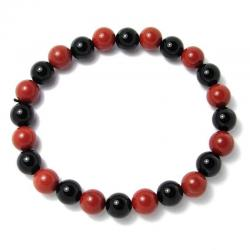 Jaspe rouge + onyx - Bracelet boules 8 mm