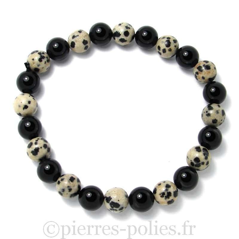 Jaspe dalmatien + onyx - Bracelet boules 8 mm