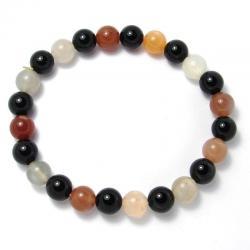Pierre de lune multicolore + onyx - Bracelet boules 8 mm