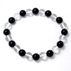 Cristal de roche + onyx - Bracelet boules 8 mm - Qualité AA