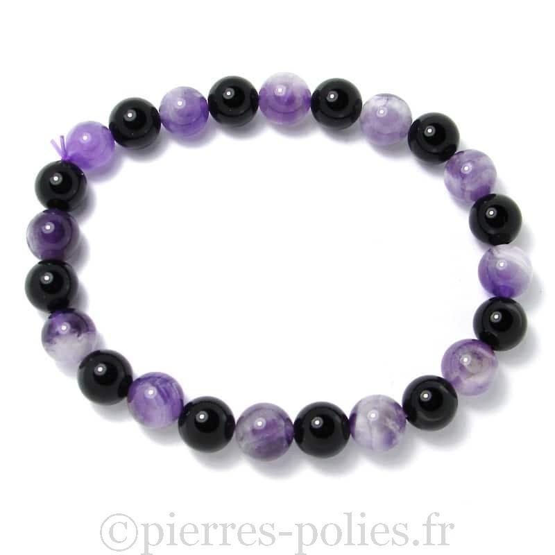 Améthyste chevron + onyx - Bracelet boules 8 mm