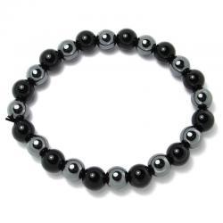 Hématite + onyx - Bracelet boules 8 mm