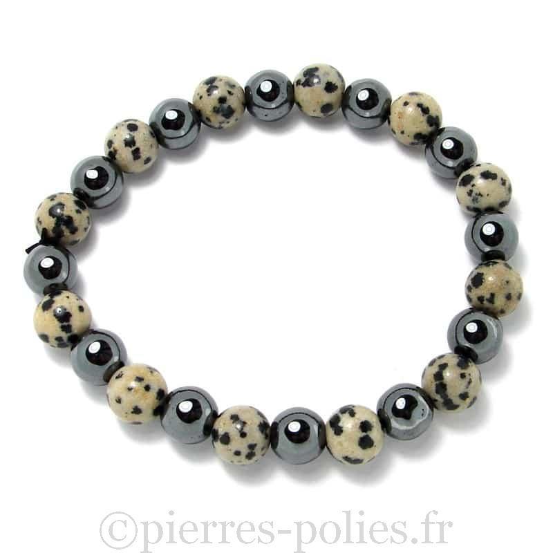 Jaspe dalmatien + hématite - Bracelet boules 8 mm