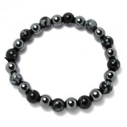 Obsidienne neige + hématite - Bracelet boules 8 mm