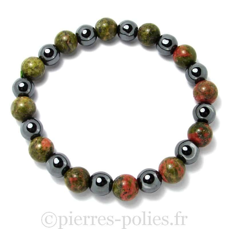 Unakite + hématite - Bracelet boules 8 mm