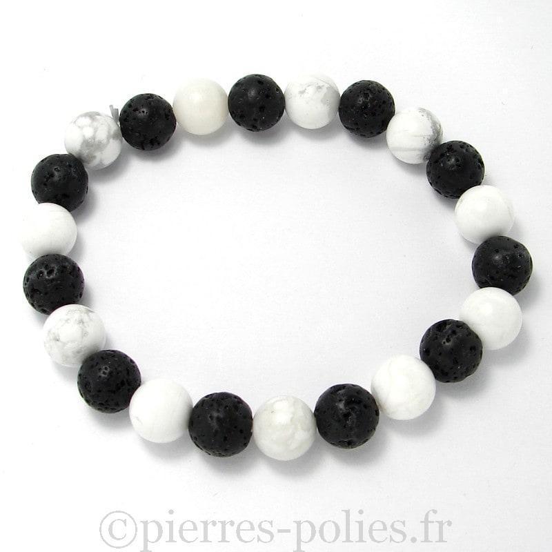 Magnésite + lave - Bracelet boules 8 mm