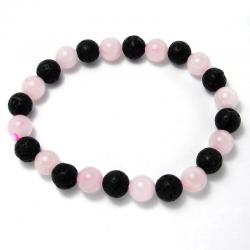 Quartz rose + lave - Bracelet boules 8 mm
