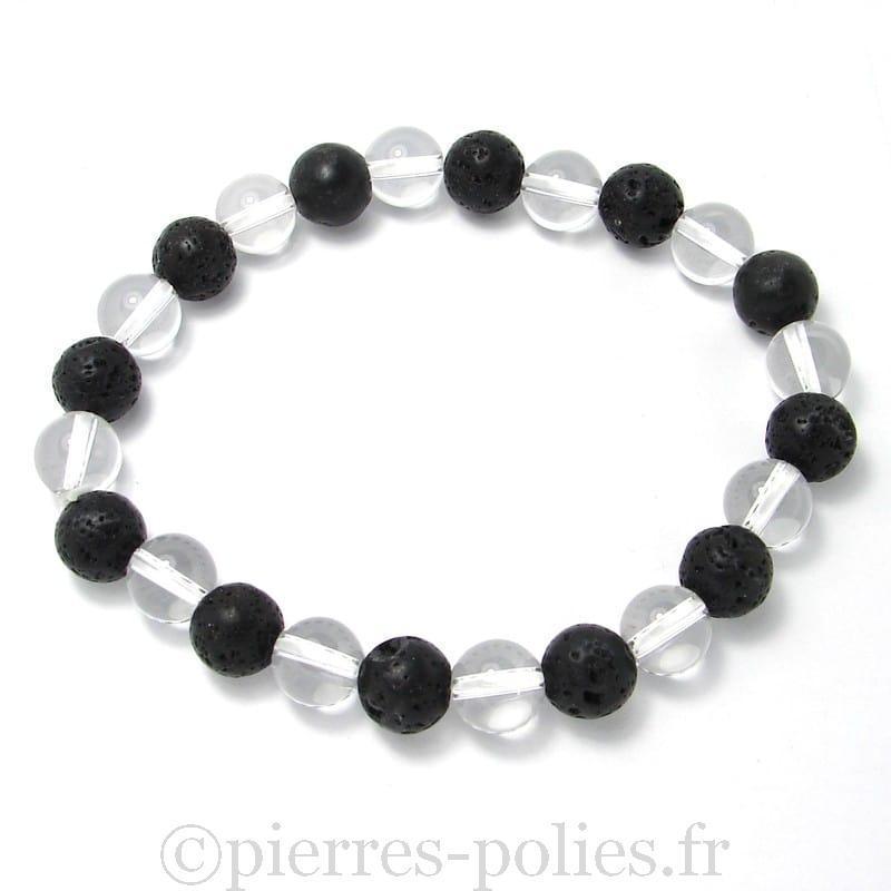 Cristal de roche + lave - Bracelet boules 8 mm