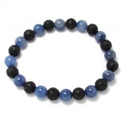 Aventurine bleue + lave - Bracelet boules 8 mm