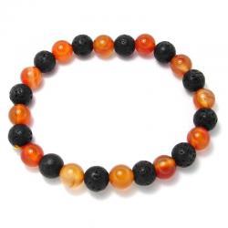Cornaline naturelle + lave - Bracelet boules 8 mm -