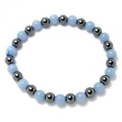 Angélite + hématite - Bracelet boules 6 mm