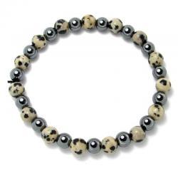 Jaspe dalmatien + hématite - Bracelet boules 6 mm