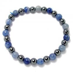 Aventurine bleue + hématite - Bracelet boules 6 mm