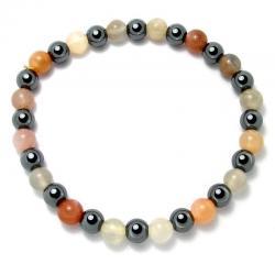 Pierre de lune multicolore + hématite - Bracelet boules 6 mm