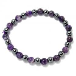 Améthyste chevron + hématite - Bracelet boules 6 mm
