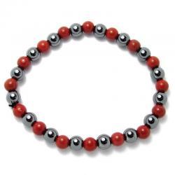 Jaspe rouge + hématite - Bracelet boules 6 mm