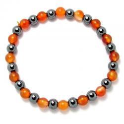 Cornaline naturelle + Hématite - Bracelet boules 6 mm -