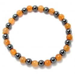 Aventurine orange + hématite - Bracelet boules 6 mm