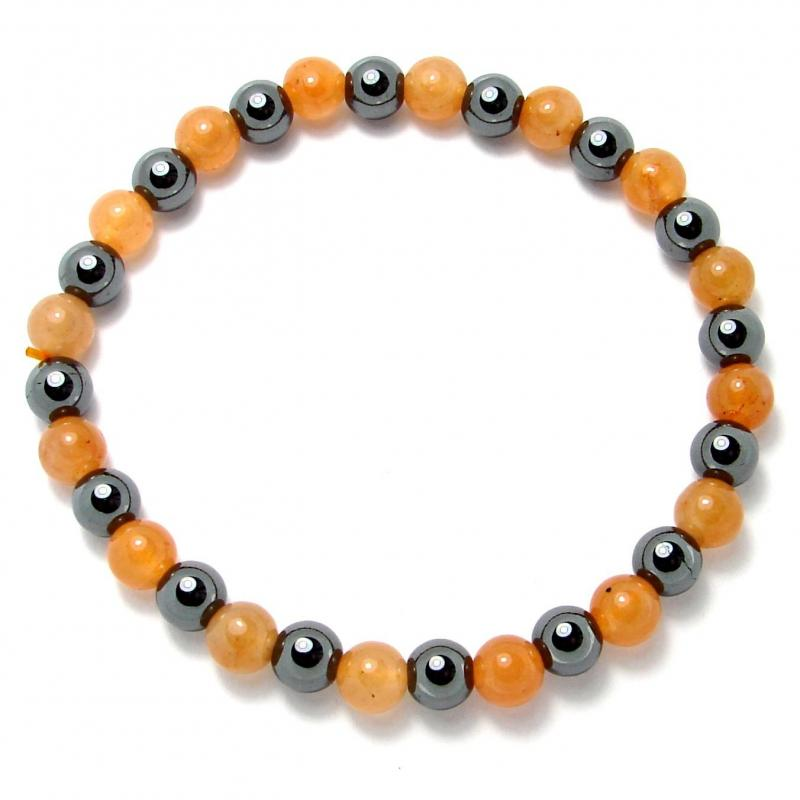 Aventurine orange + hématite - Bracelet boules 6 mm