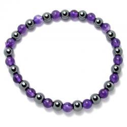 Améthyste A + hématite - Bracelet boules 6 mm