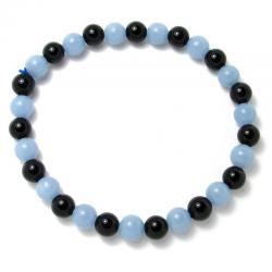 Angélite + onyx - Bracelet boules 6 mm