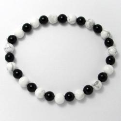Magnésite + onyx - Bracelet boules 6 mm