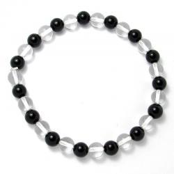 Cristal de roche + onyx - Bracelet boules 6 mm