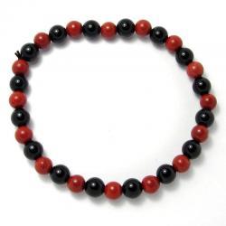Jaspe rouge + onyx - Bracelet boules 6 mm