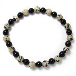Jaspe dalmatien + onyx - Bracelet boules 6 mm