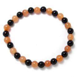 Aventurine orange + onyx - Bracelet boules 6 mm