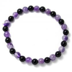 Améthyste chevron + onyx - Bracelet boules 6 mm